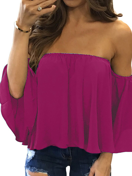 Rose Sexy Off Shoulder Loose Fit Blouse