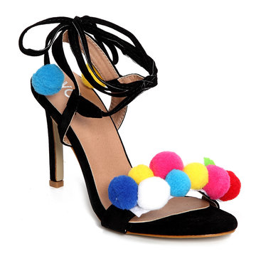 Black Pom-pom Decorated Lace-up High Heels