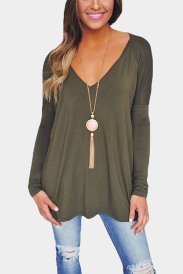 Green Causal V-neck Long Sleeves T-shirt