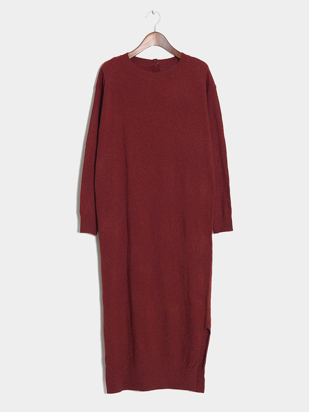 Wine Maxi Knitted Dress with Splited Hem