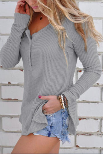 Grey Side Splited Round Neck Long Sleeves Knitwear