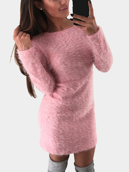 Pink Round Neck Long Sleeve Fluffy Dress