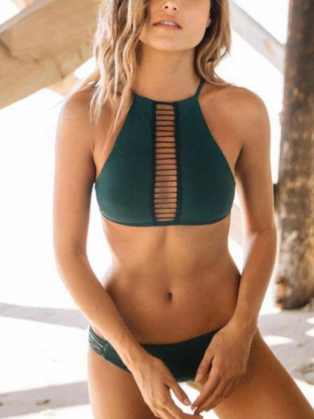 Green Halter Neck Cutout Hollow Front Bikini Set