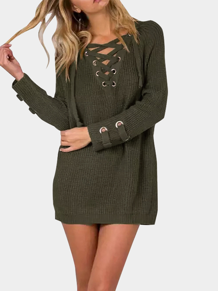 Army Green Lace-up Tricot Long Raglan Sleeves Sweater
