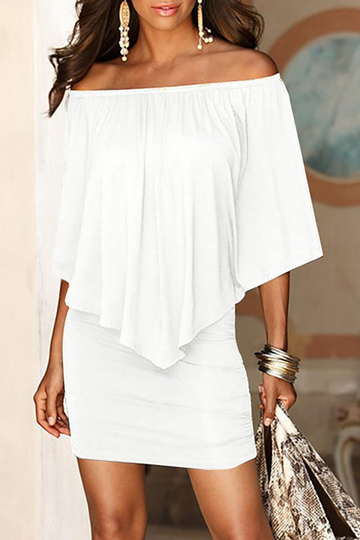 White Off The Shoulder Ruffles Overlay Design Mini Dress