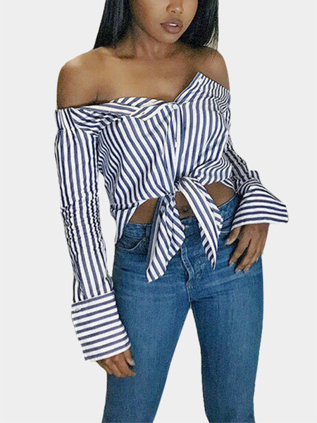 Stripe Blouse With Off The Shoulder