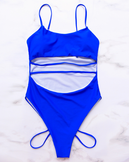 Royal Scoop Neck Cutout Design Strappy Swimsuit
