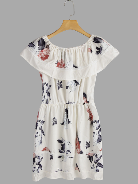 Apricot  Floral Pattern Off Shoulder Tiered Design Cap Sleeves Midi Dress