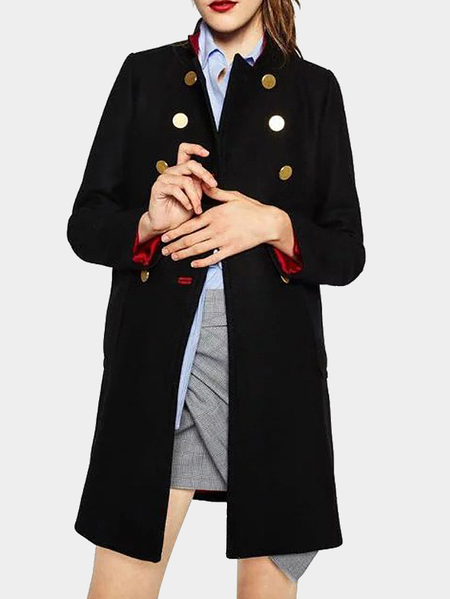 Black Minimalism Double Breasted Design Woolen Fashion Coat
