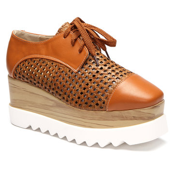 Brown Hollow Design Lace-up Design Platfrom Shoes