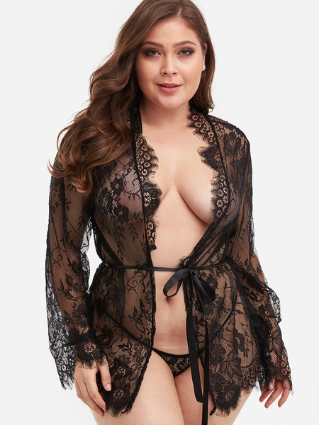 Plus Size Black Self-Tie Lace Lingerie Robe
