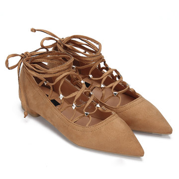Brown Rivet Embellished Lace-up Pointed Toe Flats
