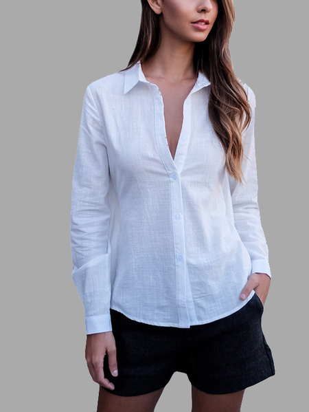 White Fashion Hollow Back Self-tie Shirt