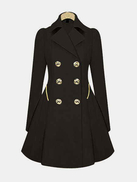 Black Pleated Design Lapel Collar Ladies Coat
