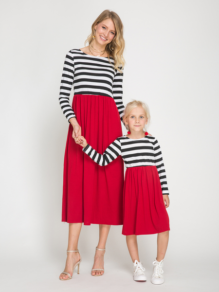 Red Mommy and Me Stripe Matching Midi Dress