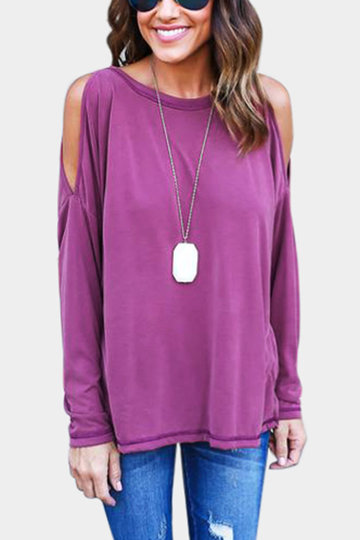 Rose V-neck Long Sleeves T-shirt with Backless Design