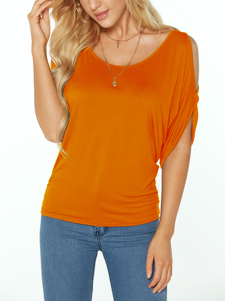 Laranja Scoop Neck Cold Shoulder Tie-up no T Voltar