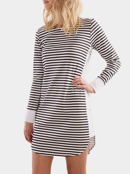 Stripe Long Sleeves Curved Hem Mini Dresses