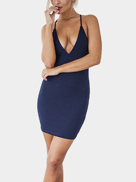 Navy Sexy Plunge V-neck Bodycon Cami Dress