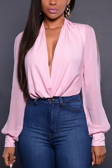 Pink Sexy Wrapped Hollow Long Sleeves Top