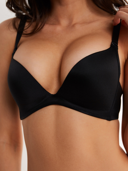 Black Soft Padded V-neck Push-up Bralette