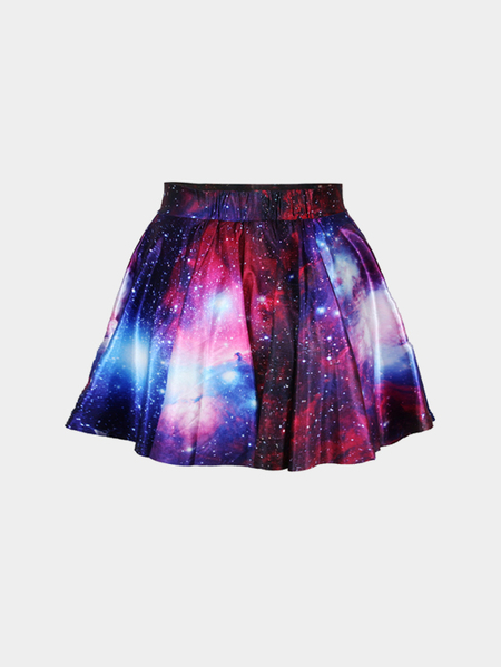 Fashion Purple Galaxy Print High Waist Pleated Skirt