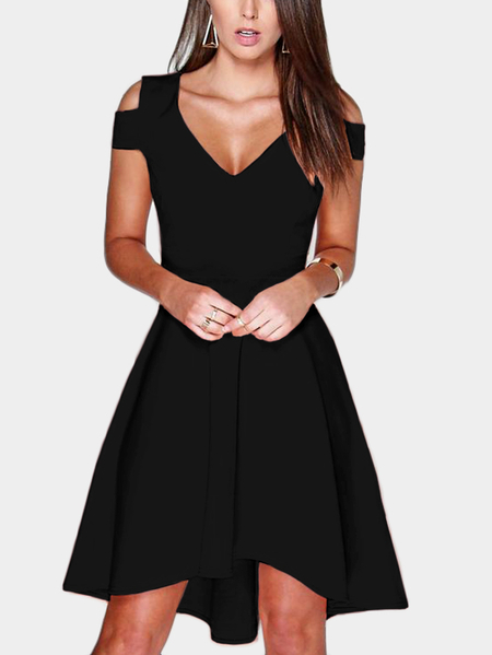 Black Cut Out Cold Shoulder V-neck Mini Dress