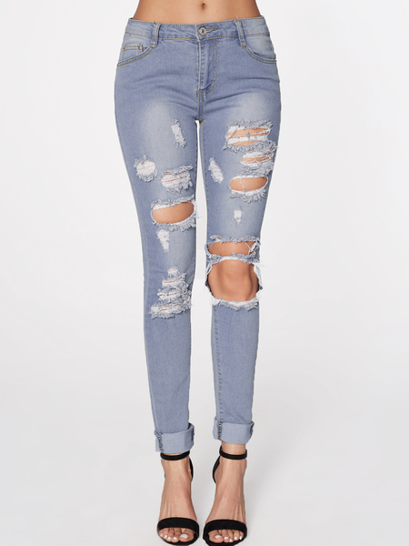 Blue Random Ripped Design Jeans