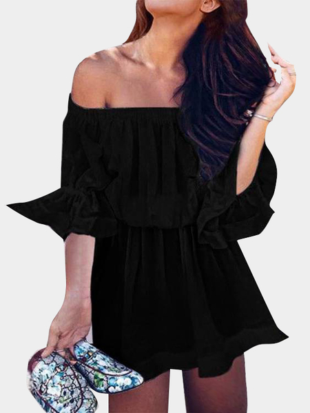 Black Off-the-shoulder Mini Dress