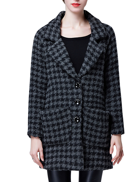 Houndstooth Pattern Duster Coat com Twin Large Pocket