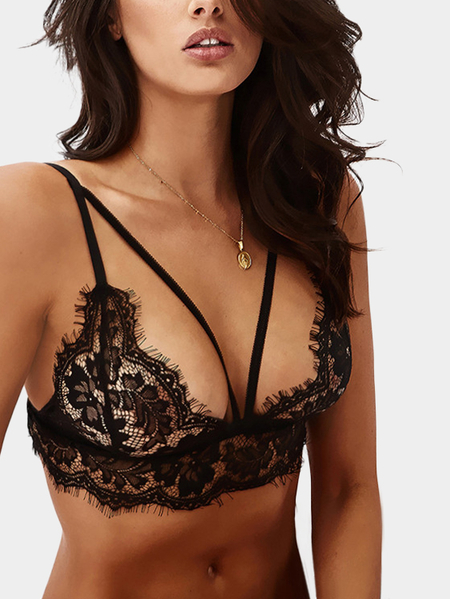 Black Lace Details Sleeveless Bodycon Fit Bra