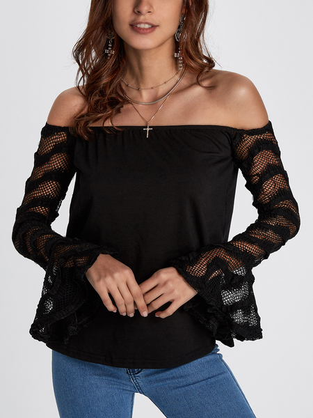 Black Off The Shoulder Long Sleeves Patchwork Design Top