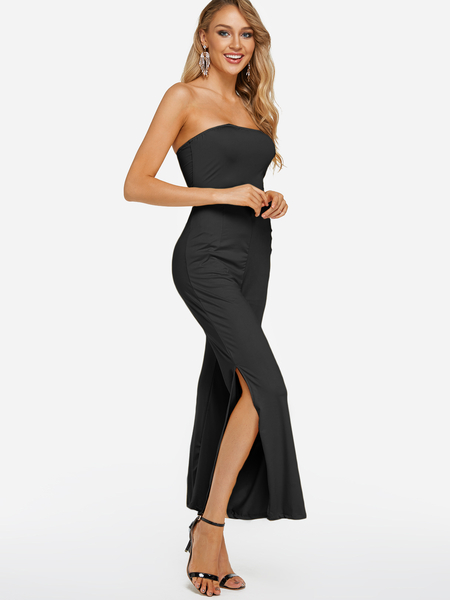 Black Slit Design Tube Top Sleeveless High-waisted Jumpsuits