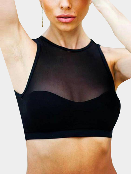 Active Cut Out Net Yarn Vest in Black