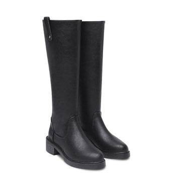 Leather-look Knee High Zipper Boots