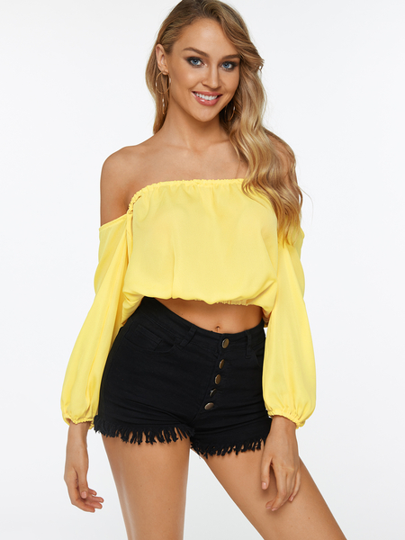 Yellow Off The Shoulder Long Sleeves Casual Crop Top