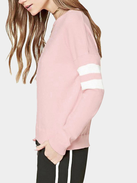 Pink Casual Round Neck Stripe Padrão Top