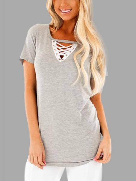 Causal V-neck Lace-up T-shirt in Grey