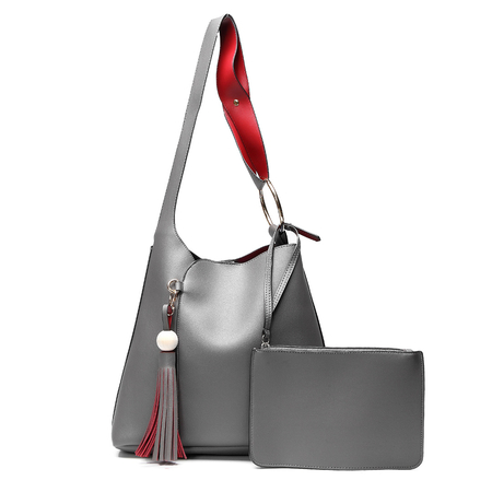 Grey Fashion Shoulder Bag with Tassel Embellished