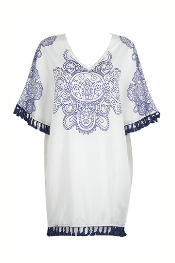 Blue and White Porcelain Print Bat Sleeve Tassel Loose Dress