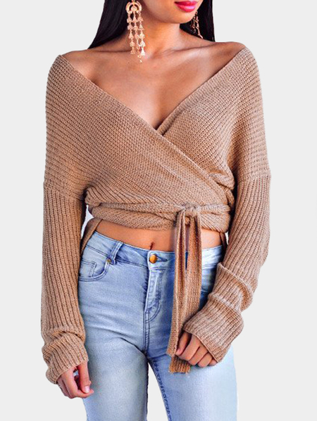Coffee Self-tie Design Cross Front V-neck Knitting Jumpers