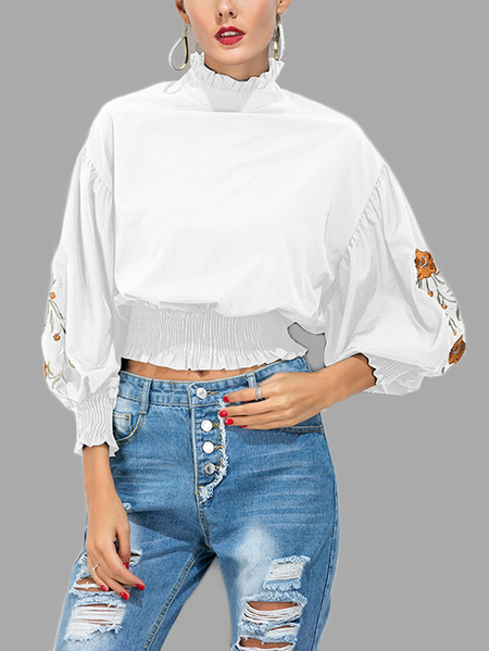 White Flower Embroidery Elastic Waist High Neck Crop Top