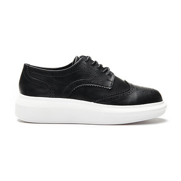 Negro Cuero Mirar Ronda Toe Tallar Lace-up Paltform Zapatillas