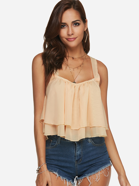 Beige Backless Design Plain Scoop Neck Sleeveless Camis Top