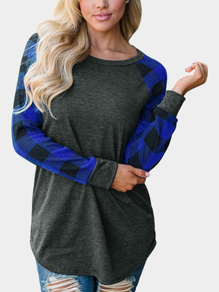 Blue Grid Round Neck Long Sleeves Sweaters