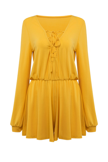 Long Sleeves Plunge V-neck Playsuit with Drawstring