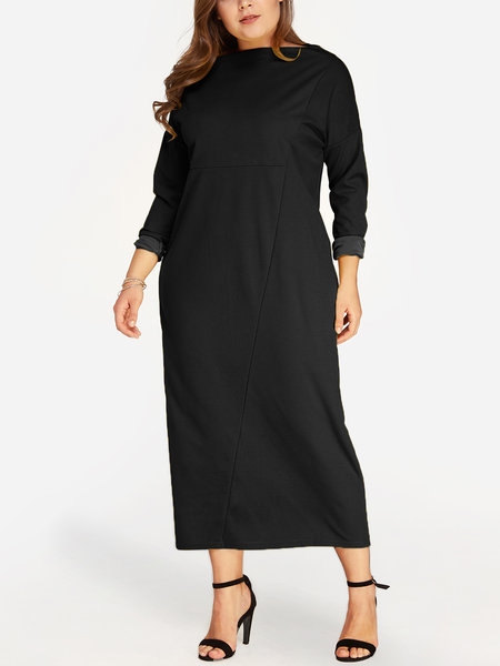 Black Plain Bateau Long Sleeves Dress