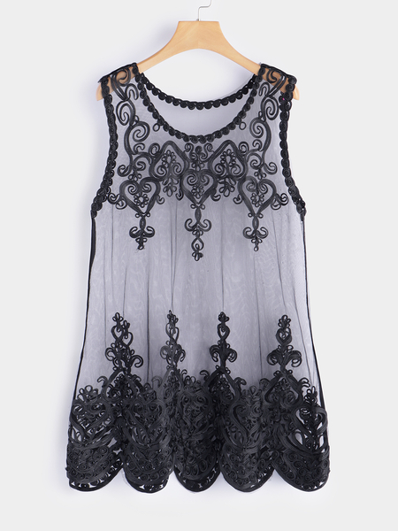 Black Embroidered See-through Design Round Neck Sleeveless Lace Tank