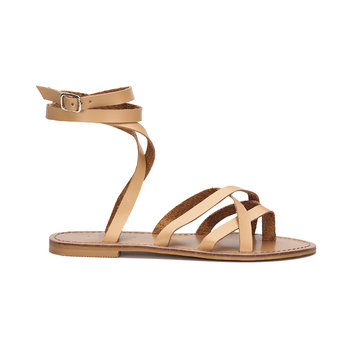 Apricot Pin Buckle Tie-up Ankle Strap Cross Over Flat Gladiator Sandals