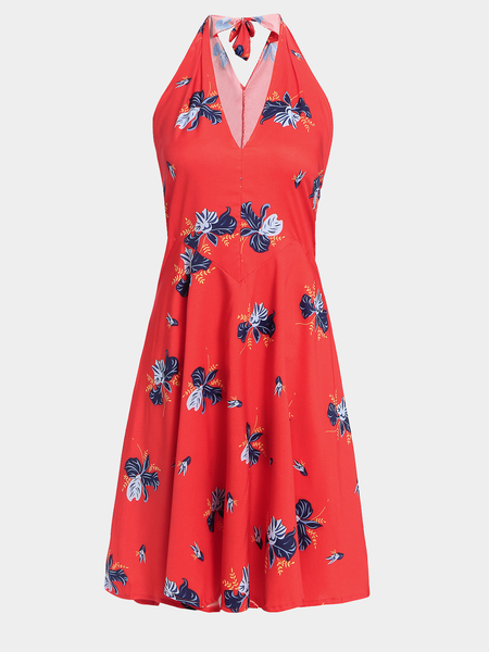 Halter Random Butterfly Pattern Dress with Zipper Side